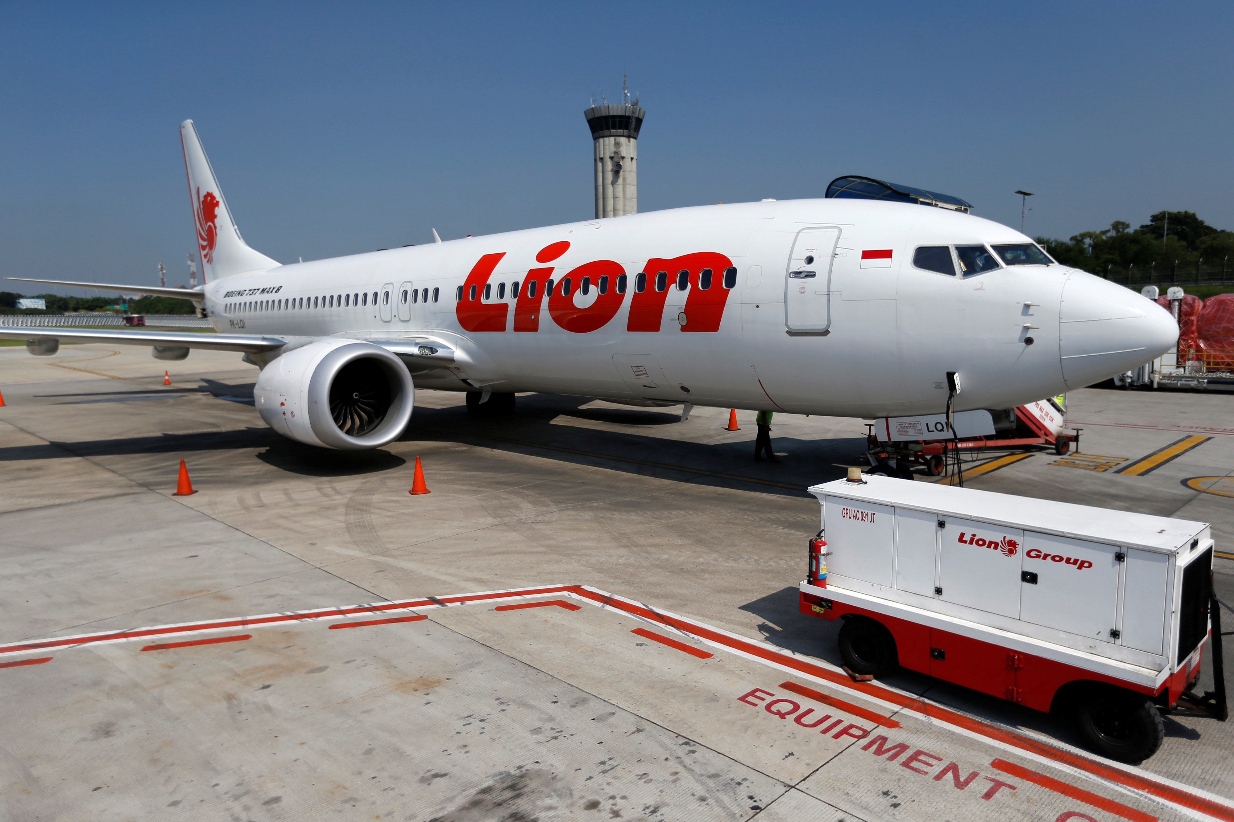 Lion Air's Boeing 737 Max 8 airplane sits on the tarmac near Jakarta