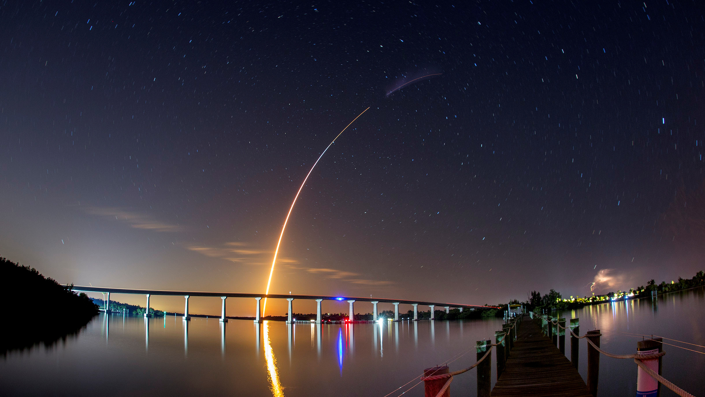 A SpaceX Falcon 9 rocket, carrying the Crew Dragon spacecraft, lifts off on an uncrewed test flight to the International Space Station from the Kennedy Space Center as viewed in Vero Beach, Florida, U.S., March 2, 2019.