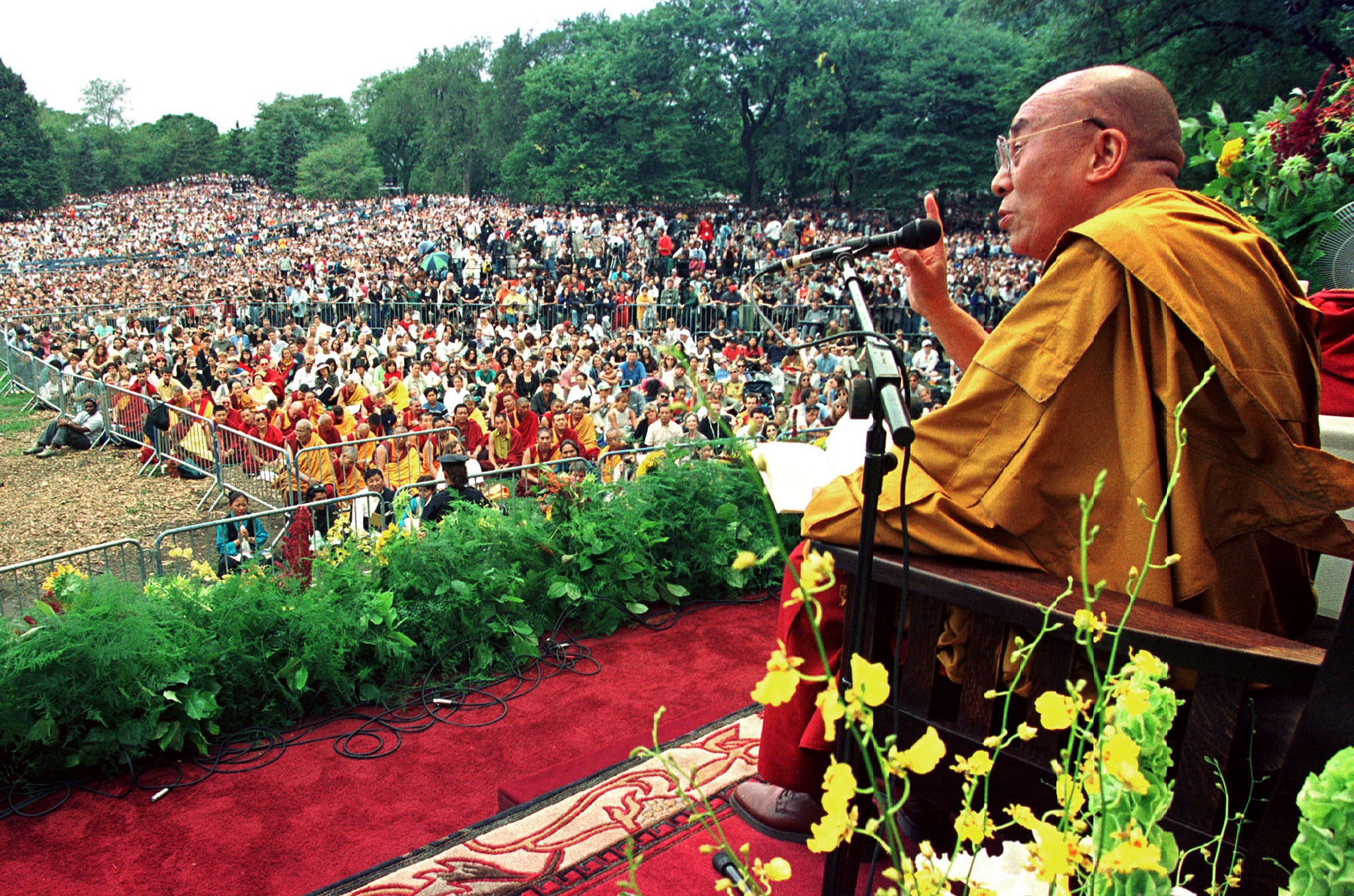 The Dalai Lama, speaks to a crowd in Central Park