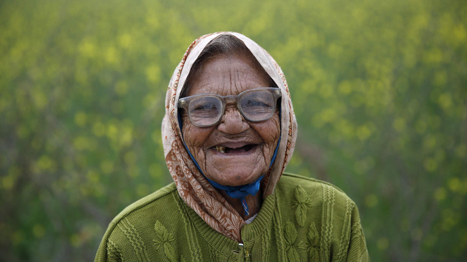 elderly indian woman laughing