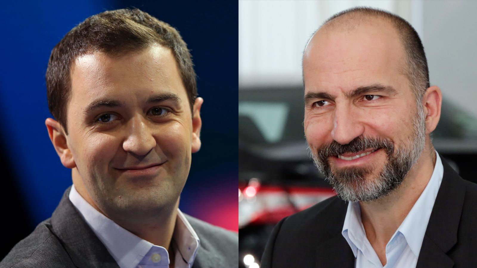 Lyft president John Zimmer and Uber CEO Dara Khosrowshahi