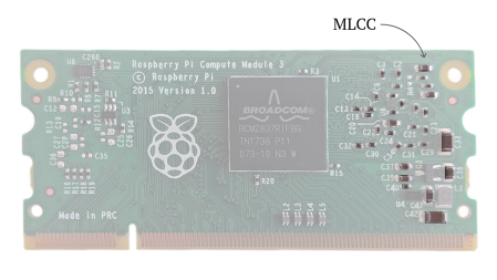 Annotated graphic of a Raspberry Pi computer pointing out the tiny MLCCs on the board.
