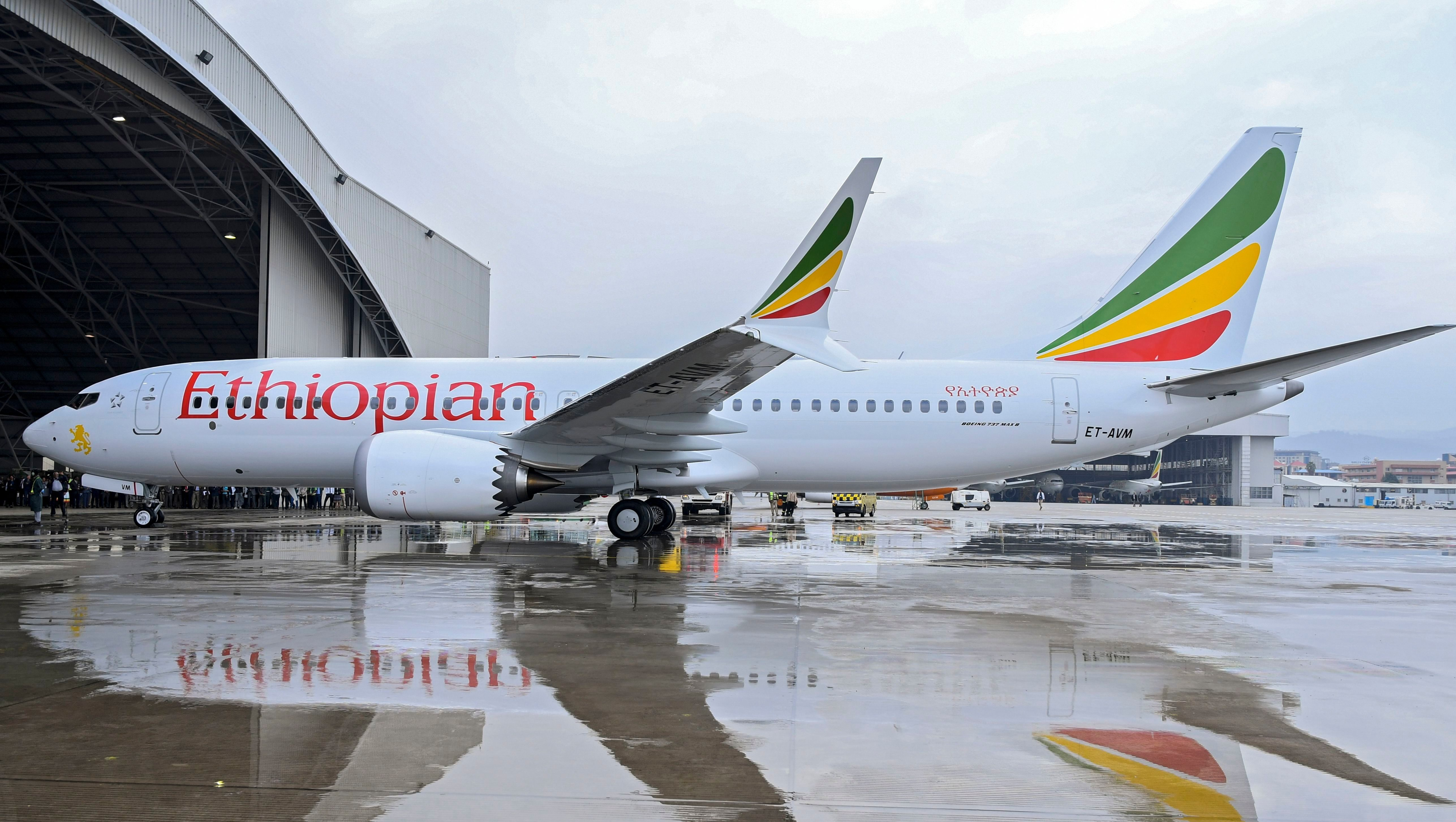 Ethiopian Airlines Boeing 737 Max 8 (ET-AVM), the same type of aircraft that crashed in Ethiopia on 10 March 2019, is seen at Bole International Airport in Addis Ababa, Ethiopia, when it was first delivered to Ethiopia on 02 July 2018 (issued 10 March 2019). Ethiopian Airlines Boeing 737 en route to Nairobi, Kenya, crashed near Bishoftu, some 50km outside of the capital Addis Ababa, Ethiopia, on 10 March 2019. All passengers onboard the scheduled flight ET 302 carrying 149 passengers and 8 crew members, have died, the airlines says. Ethiopian Airlines plane en route from Addis Ababa to Nairobi crashed, Ethiopia - 02 Jul 2018