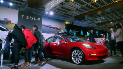 A Tesla Model 3 Car Is Displayed At The Canadian International Autoshow In Toronto Ontario