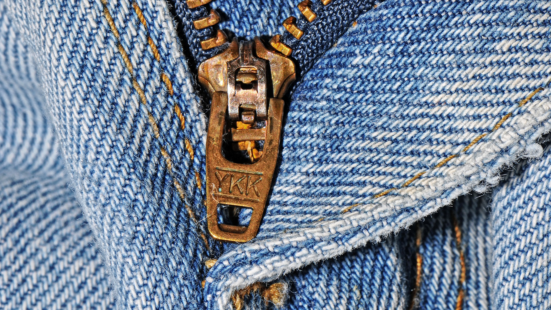 YKK zipper on a pair of jeans