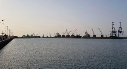 This photo taken Monday March 12, 2018 shows the port of Djibouti. Djibouti, an arid Horn of Africa nation with less than 1 million inhabitants, has become a military outpost for China, France, Italy and Japan, with that nation's first overseas base since World War II.