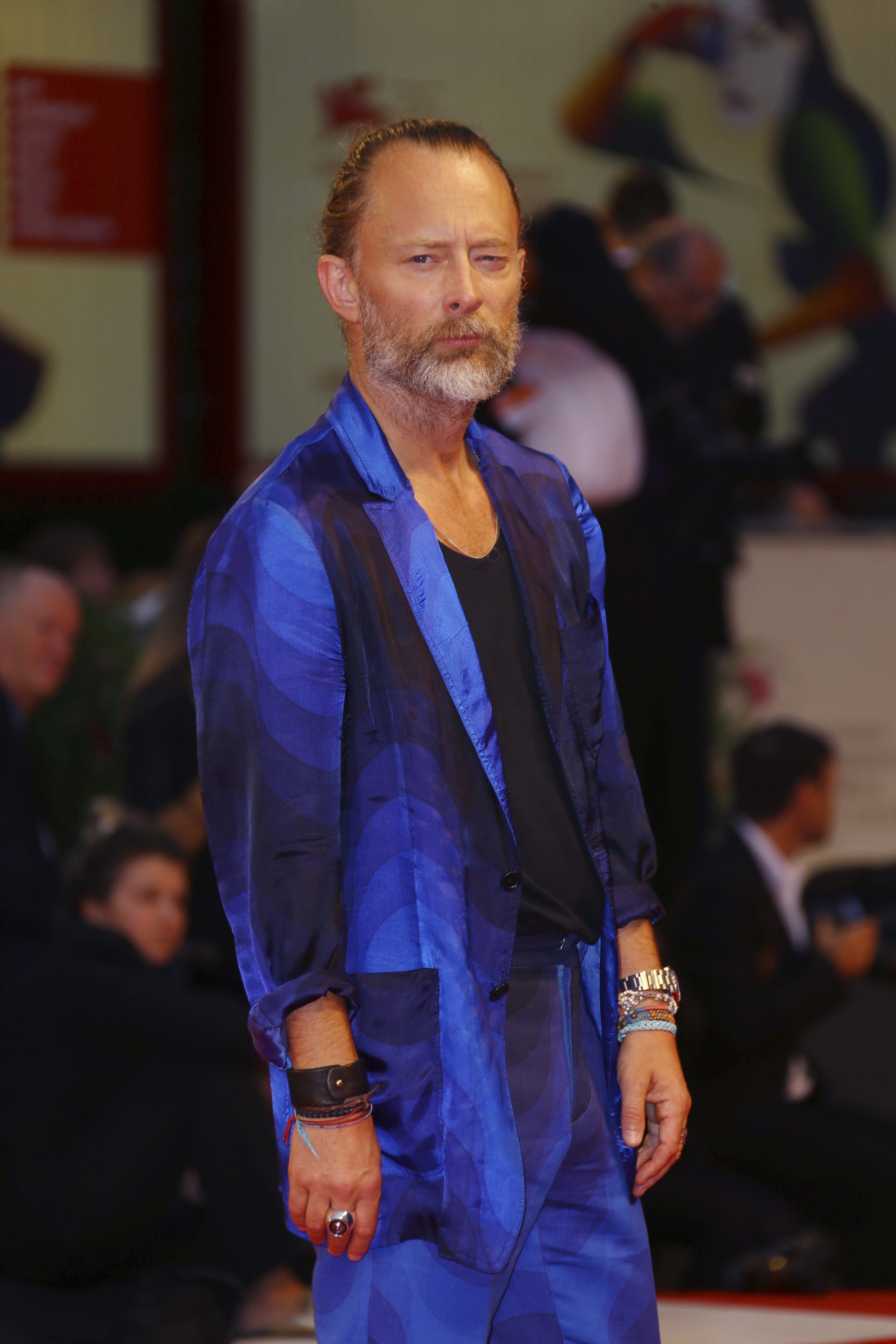 Singer Thom Yorke poses for photographers upon arrival at the premiere of the film 'Suspiria' at the 75th edition of the Venice Film Festival in Venice, Italy, Saturday, Sept. 1, 2018. (Photo by Joel C Ryan/Invision/AP)