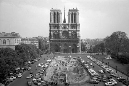 The front elevation of Notre Dame cathedral in Paris, on April 18, 1967.