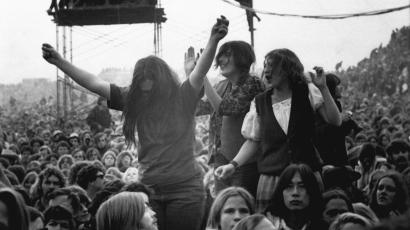 Music fans dance and sing to the Rolling Stones at a free concert at the Altamont Speedway near Livermore, Ca. on Dec. 6, 1969. The concert was dubbed 'Woodstock West'. (AP Photo