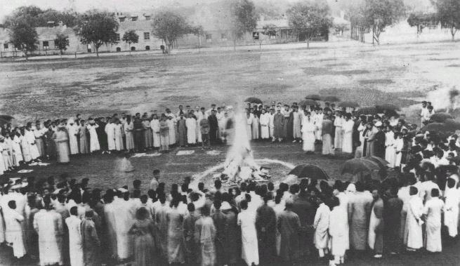 Tsinghua University students burning Japanese goods in 1919.