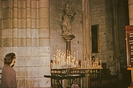 Candles in Notre Dame de Paris, Paris, France, 1973.