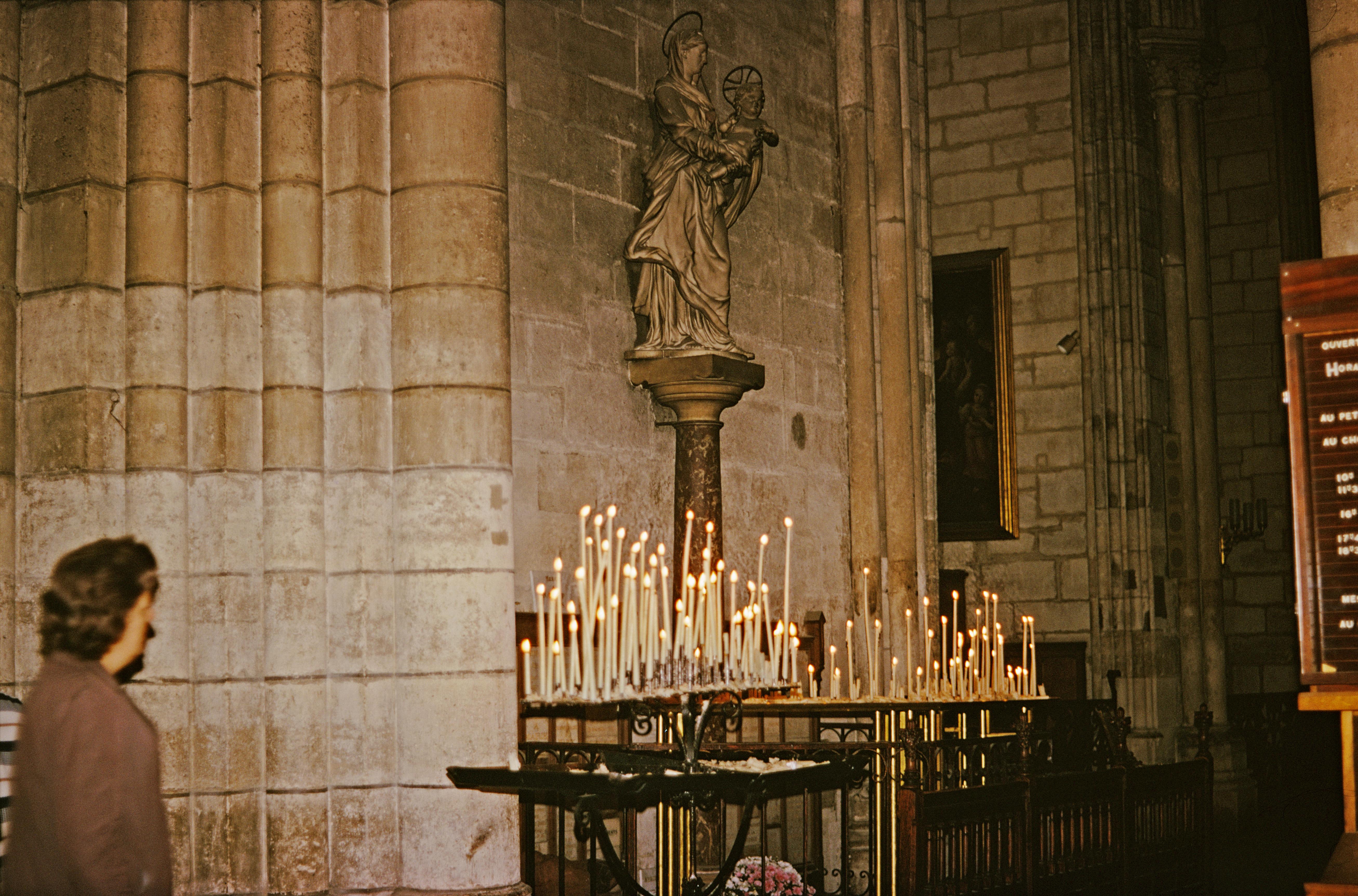 Candles in Notre Dame de Paris, Paris, France, 1973.