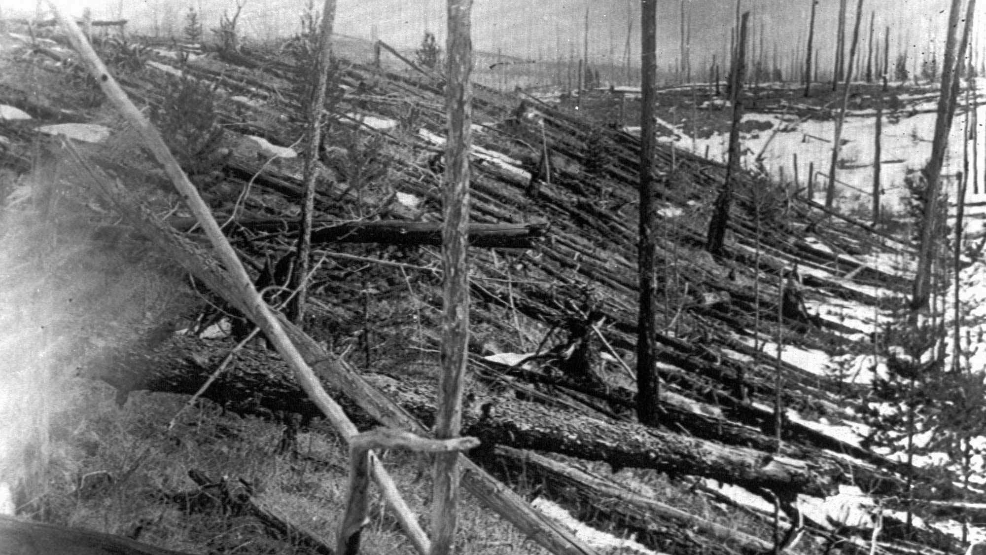 Trees lay strewn across the Siberian countryside 45 years after a meteorite struck the Earth near Tunguska, Russia in 1953. The 1908 explosion leveled everything for miles near the impact site. The results of the air collision are similar, although much less severe, than they would be if asteroid 1997 XF11 struck the planet as the International Astronomical Union warned was a possibility on Wednesday, March 11, 1998.