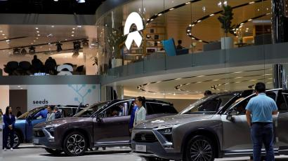 NIO ES8 electric SUVs are seen displayed at the second media day for the Shanghai auto show in Shanghai, China April 17, 2019.