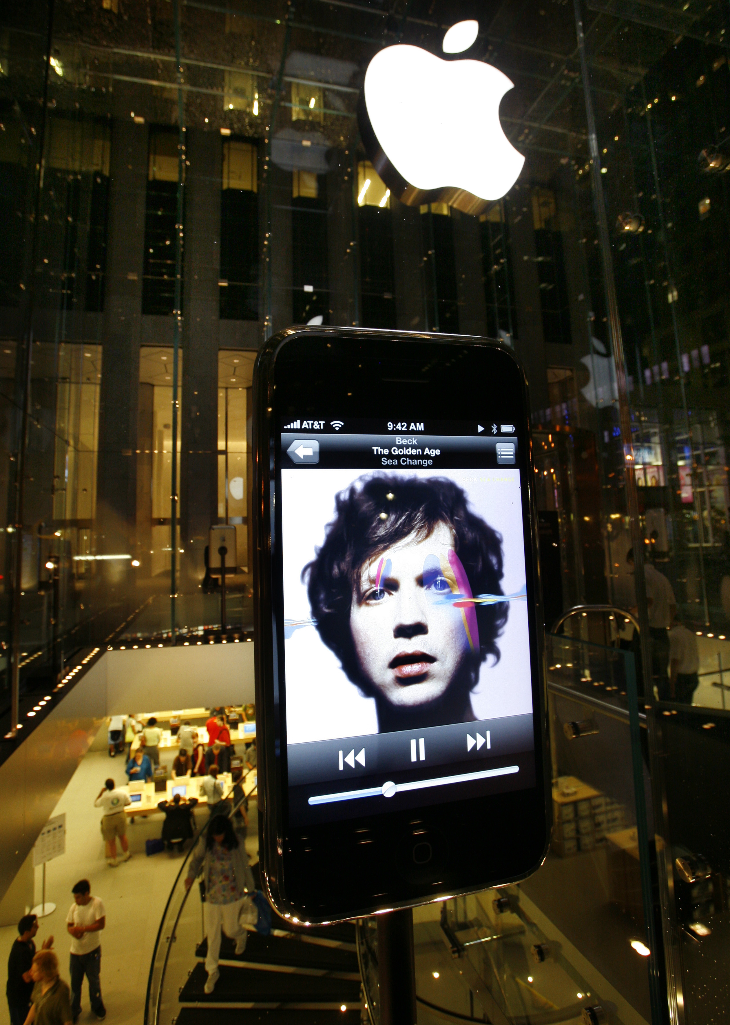 Apple store on 5th Avenue in New York on eve of sale of Apple iphone