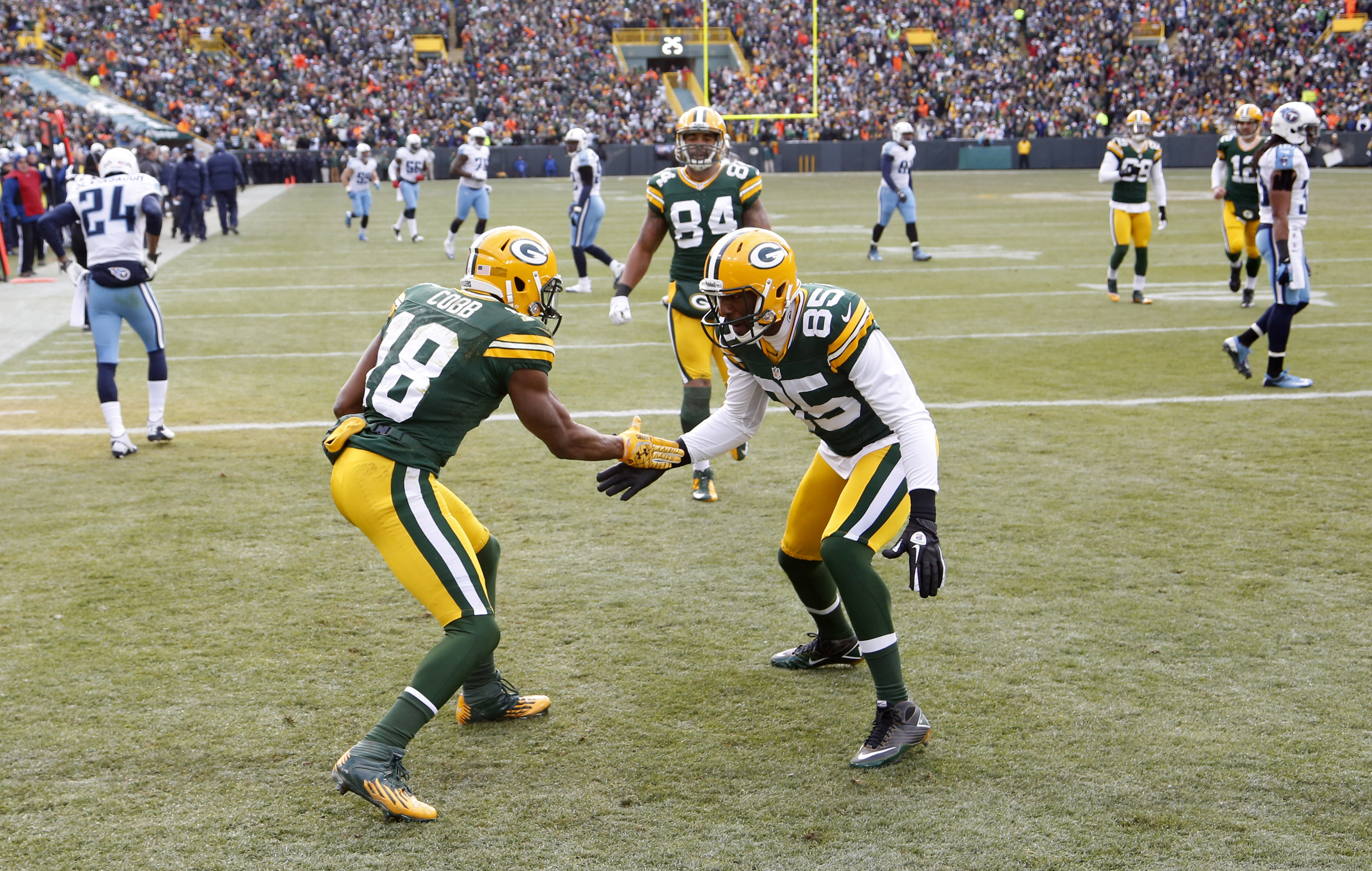 Green Bay Packers wide receiver Randall Cobb (L) celebrates his touchdown against the Tennessee Titans.