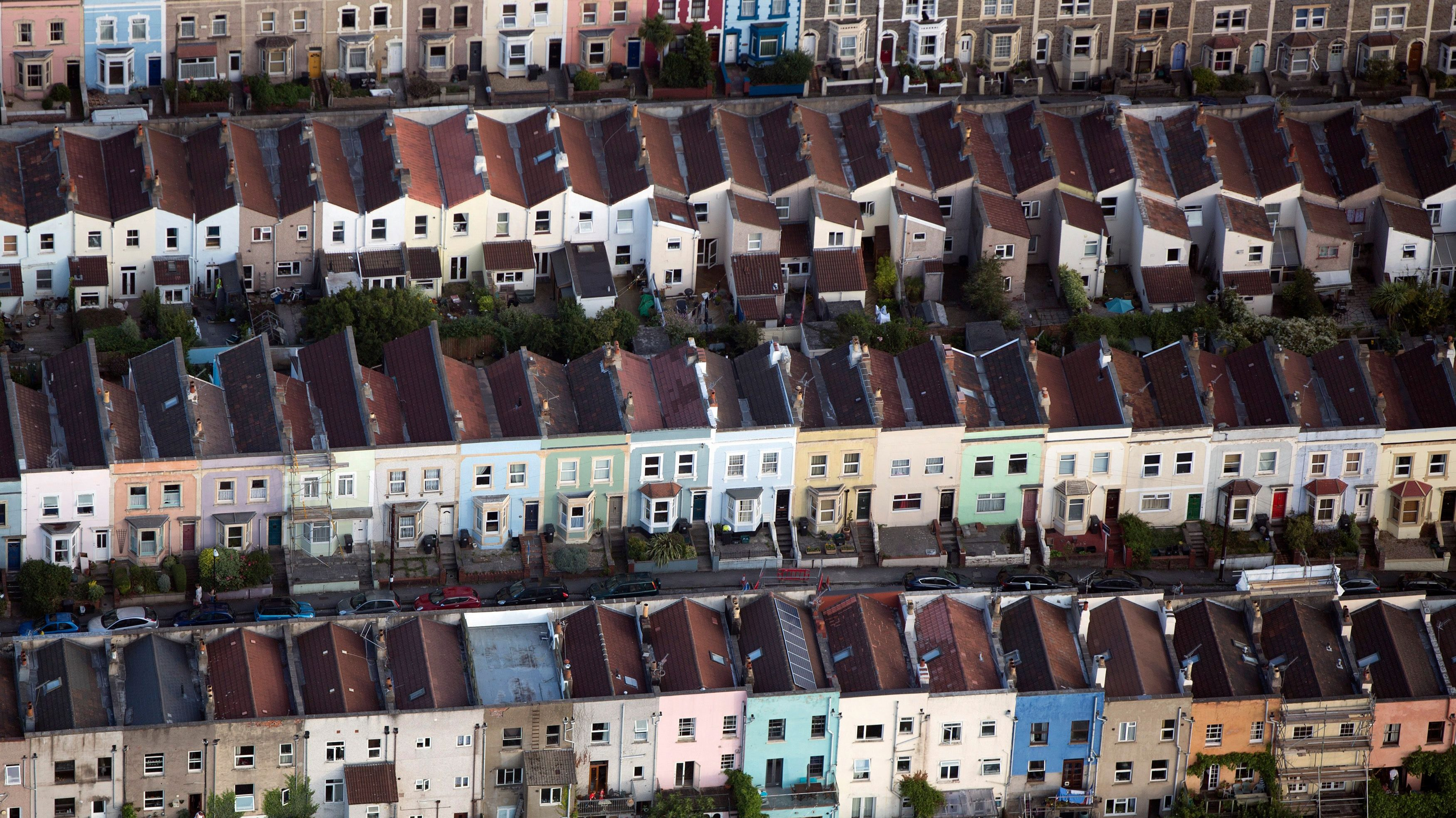 Houses are seen from the air in Bristol, southern England