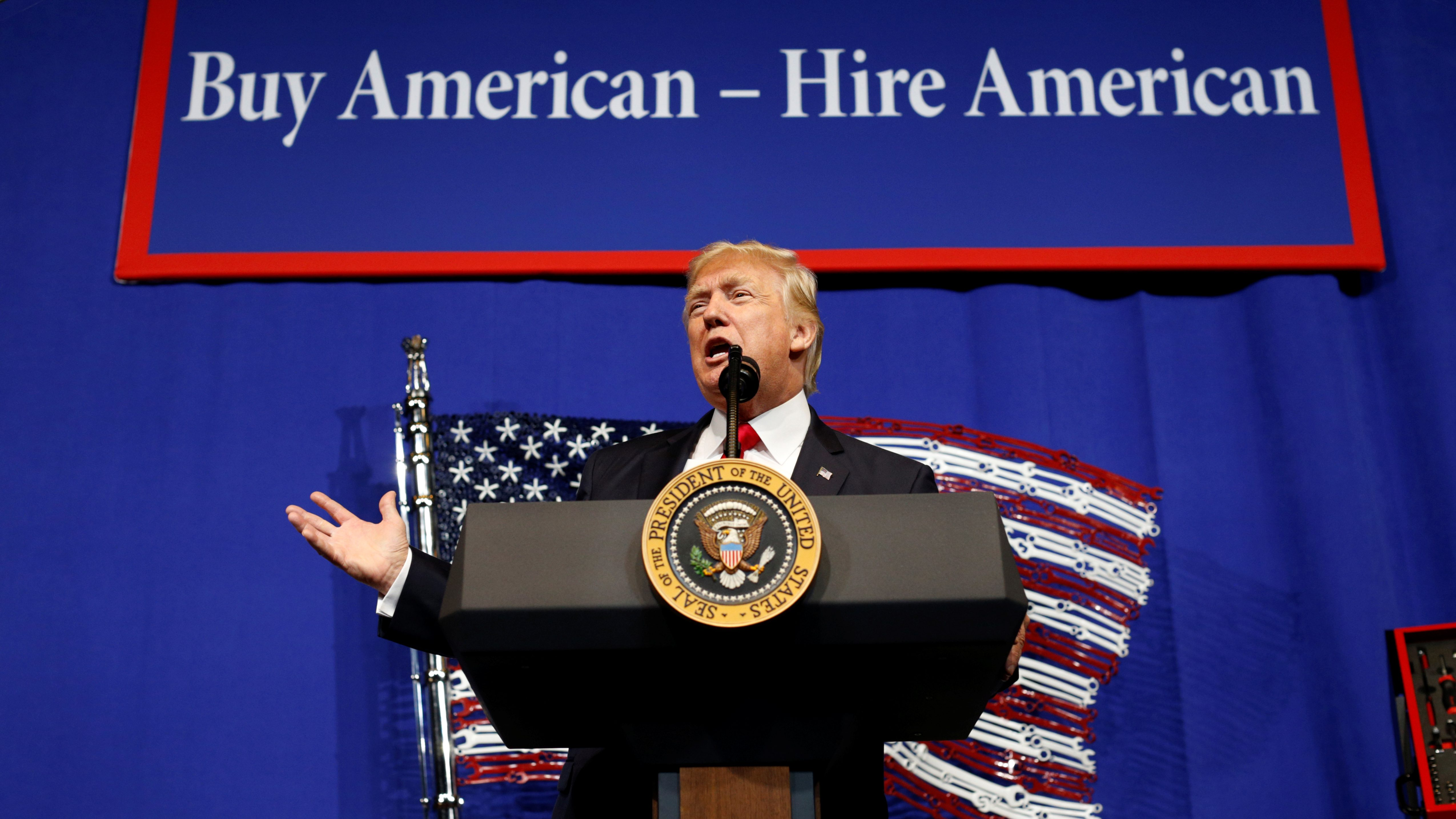 Donald Trump speaks during a visit to the world headquarters of Snap-On Inc, a tool manufacturer in Kenosha