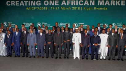 African leaders pose for a group photograph as they meet to sign a free trade deal that would create a liberalized market for goods and services across the continent, in Kigali, Rwanda March 21, 2018.