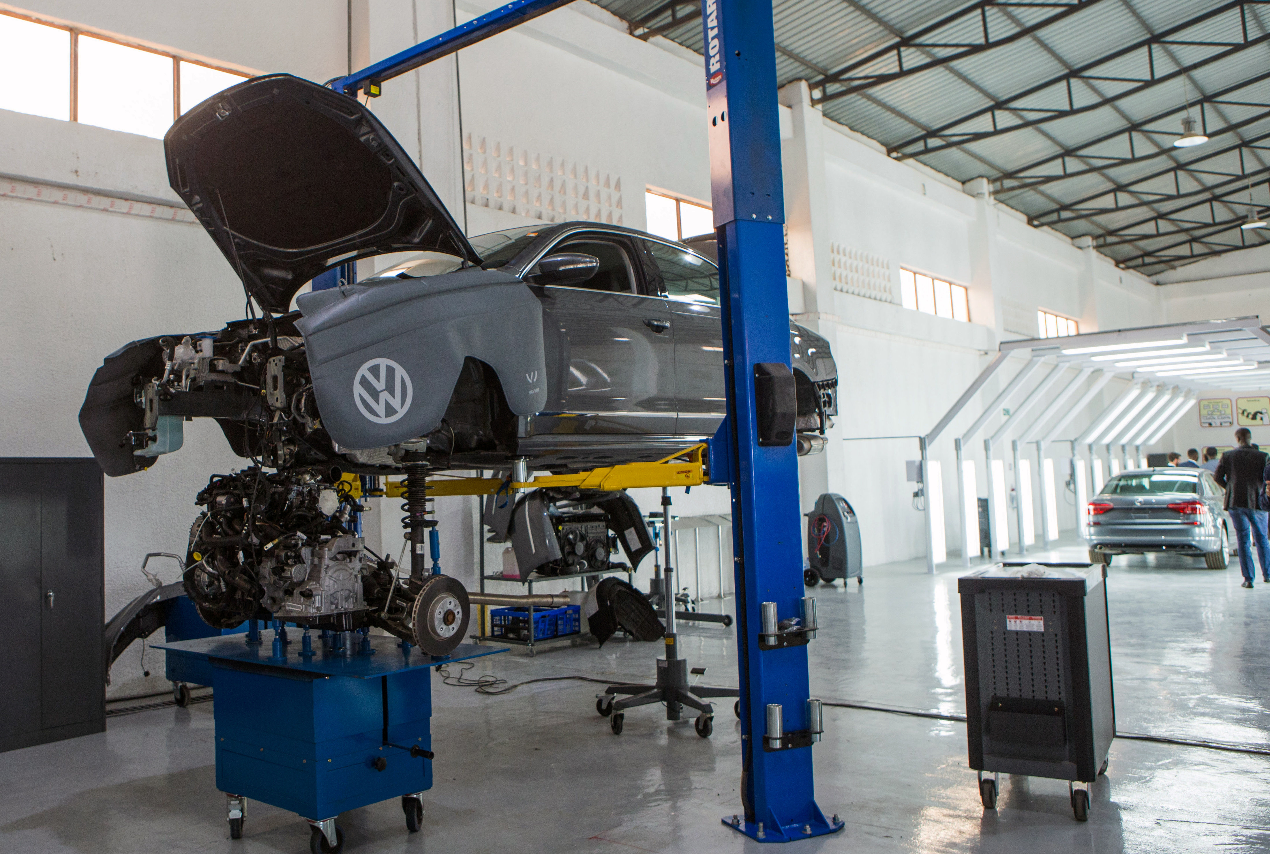 A vehicle is seen inside the first domestically built car rolled off the assembly line at Volkswagen's new factory in Kigali, Rwanda June 27, 2018.