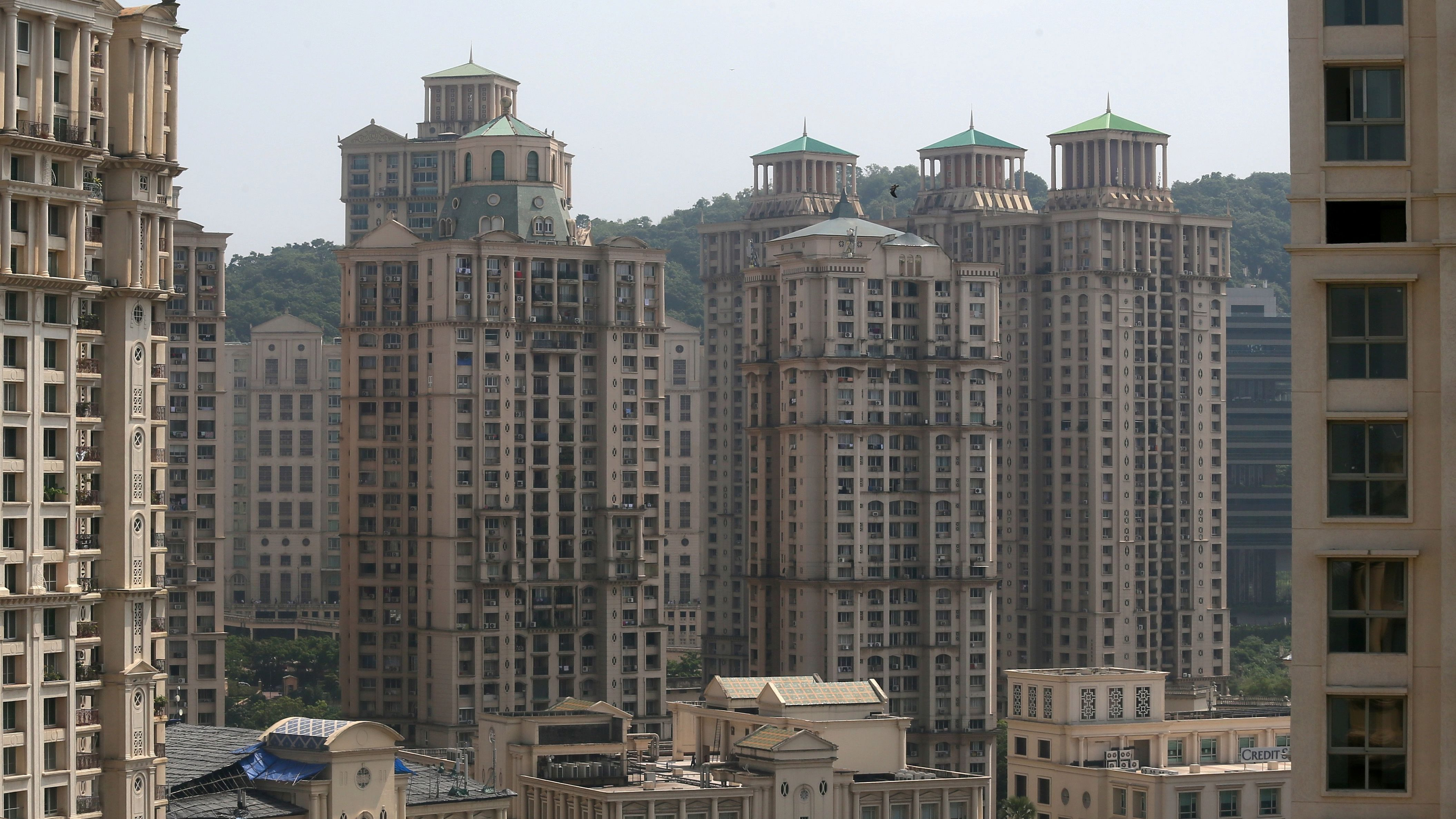 High-rise residential buildings are seen in this cityscape of Mumbai
