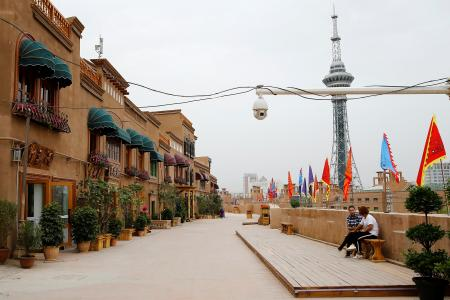 Uyghur detentions: Security camera in Old City, Kashgar, Xinjiang