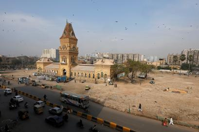 General view of Empress Market building after the removal of surrounding encroachments in Karachi