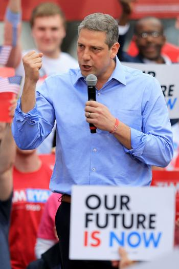 U.S. Representative Tim Ryan speaks as he launches his campaign as a Democratic presidential candidate at a rally in Youngstown, Ohio, U.S.
