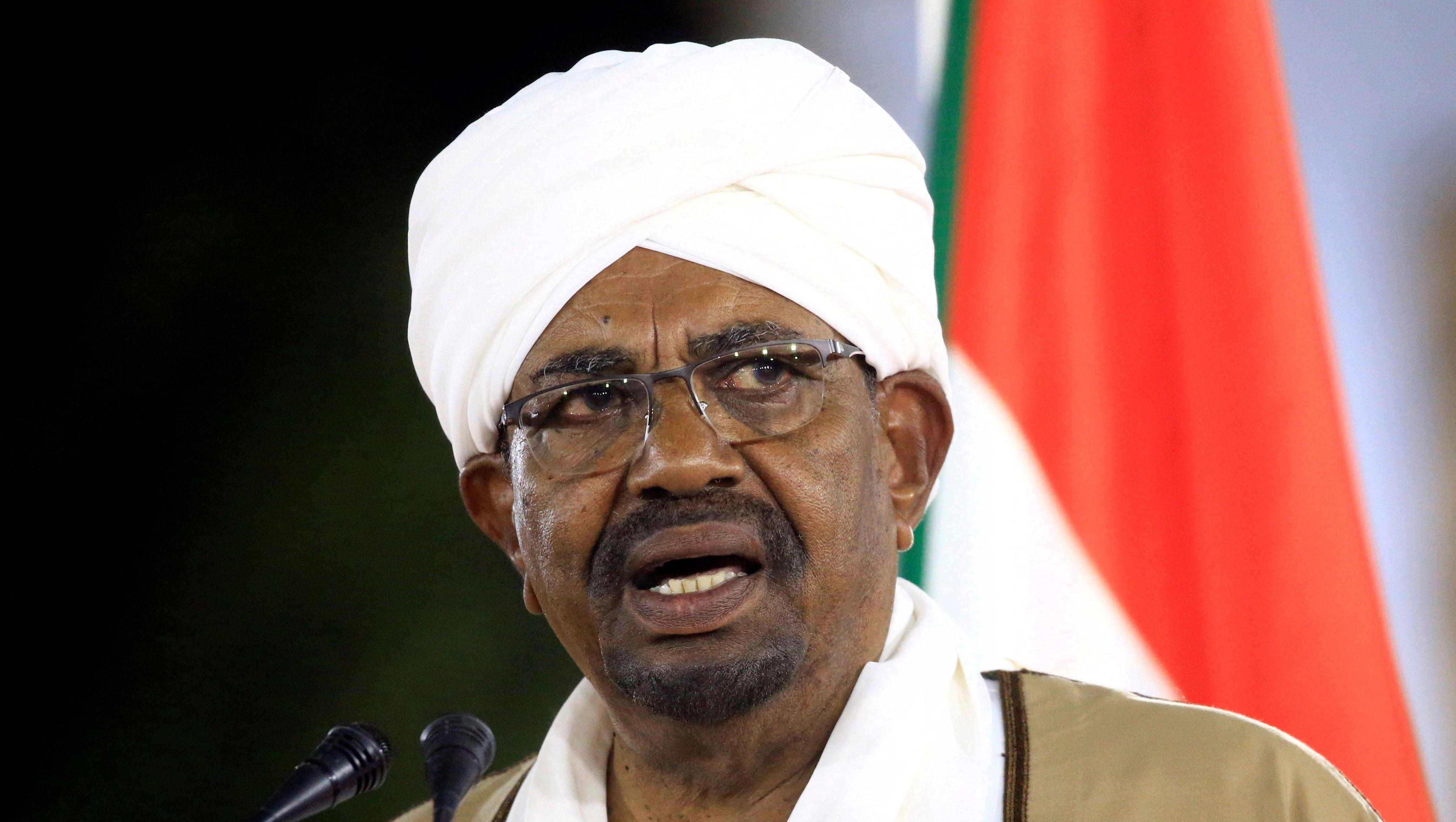 FILE PHOTO: Sudan's President Omar al-Bashir delivers a speech at the Presidential Palace in Khartoum, Sudan February 22, 2019.