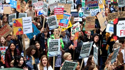 Demonstrators take part in a protest against climate change in London