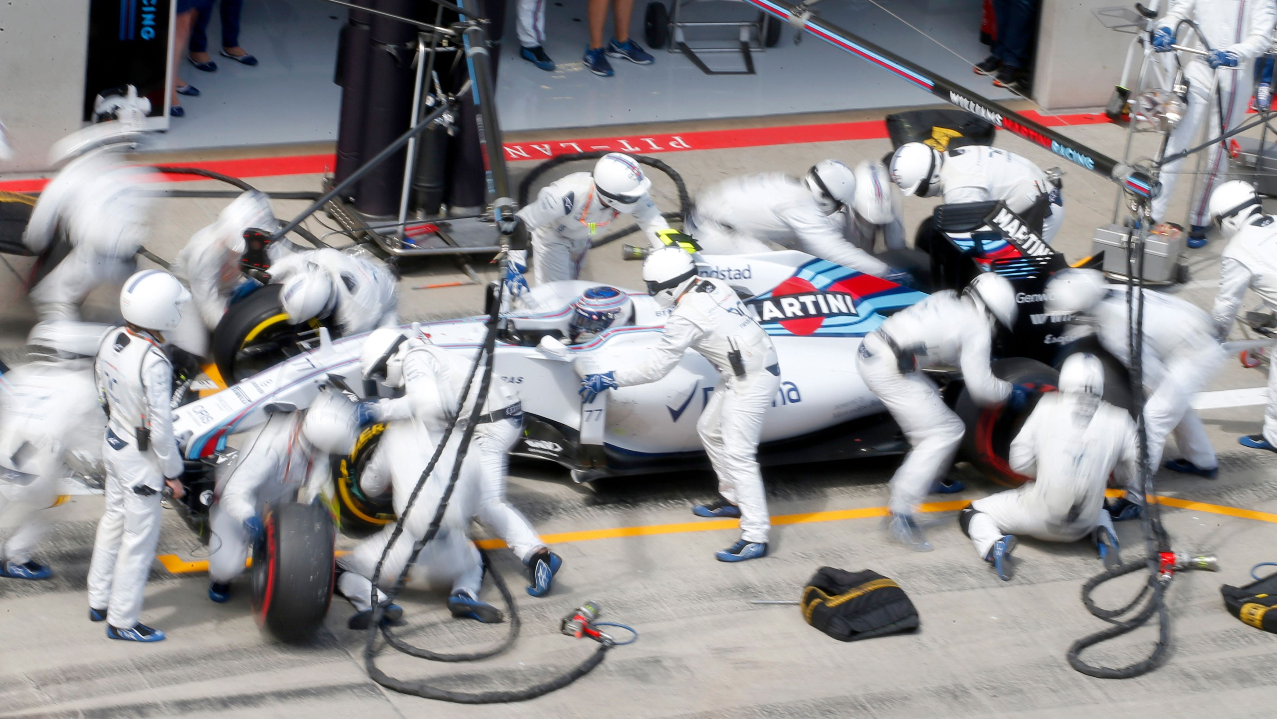 Williams Formula One driver Valtteri Bottas of Finland makes a pit stop.