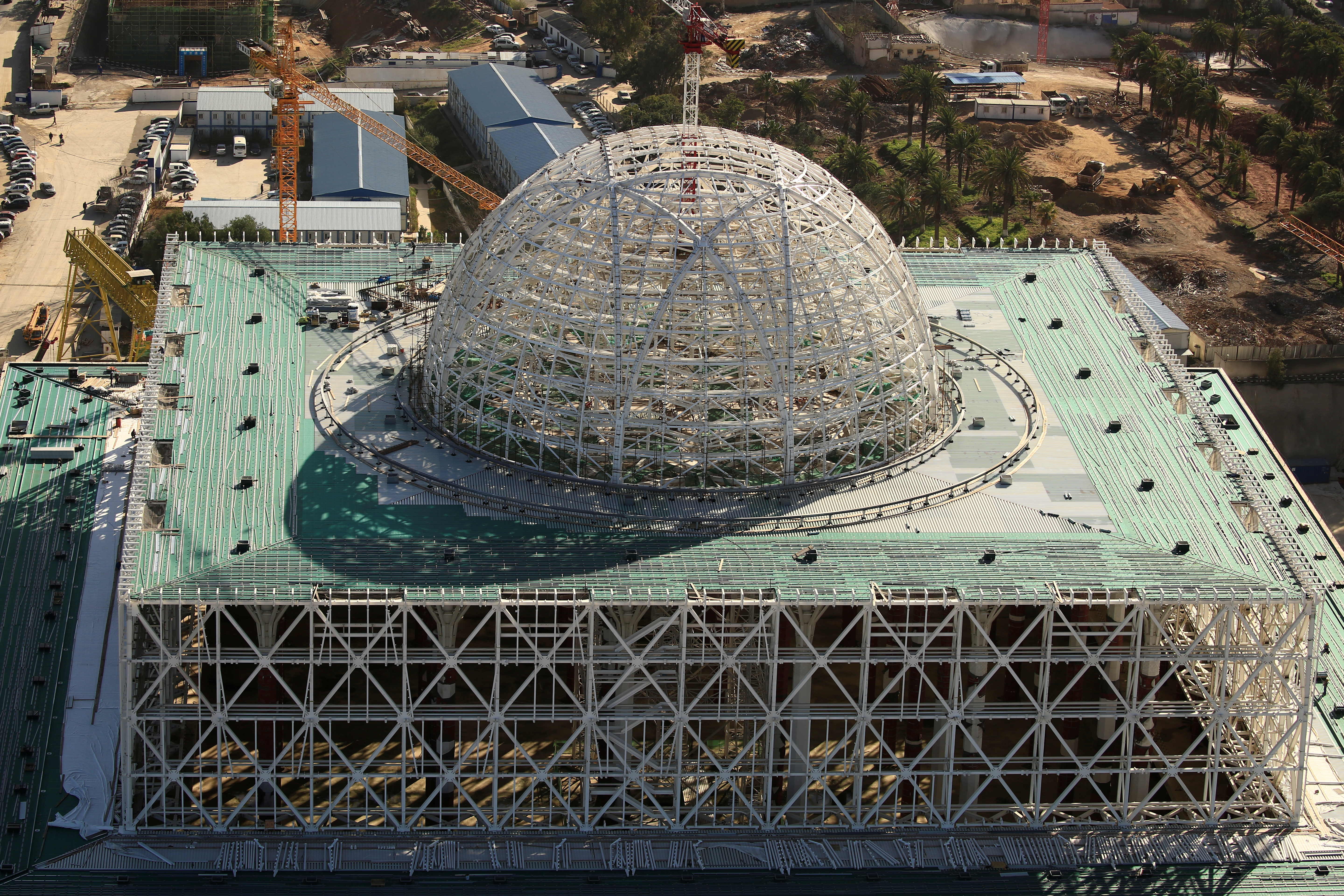 A view of the dome at the construction site of the new Great Mosque of Algiers, called Djemaa El Djazair, which is being built by the China State Construction Engineering Corporation (CSCEC), and overseen by Algeria's National Agency for Realization and Management (ANERGEMA) in Algiers, Algeria February 7, 2017.