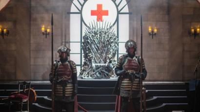 Actors portraying knights guard the Iron Throne at an interactive Game Of Thrones installation called Bleed For The Throne at the South by Southwest (SXSW) conference and festivals in Austin, Texas