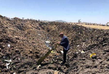 Ethiopian Airlines CEO Tewolde Gebremariam is seen at the flight ET 302 crash site near the town of Bishoftu, Ethiopia March 10, 2019 in this picture obtained from social media.