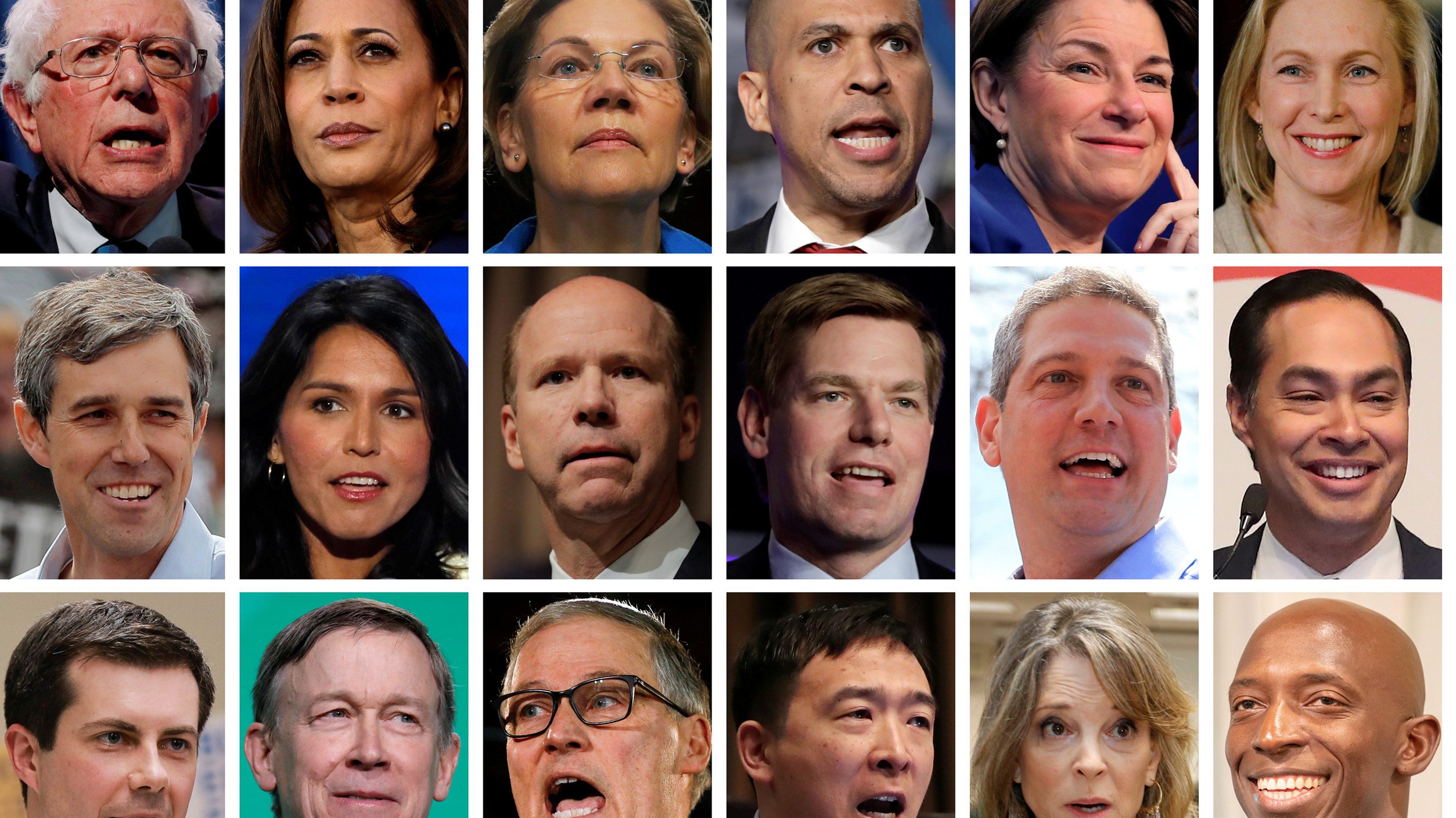 2020 Democratic presidential candidates are seen in a combination of file photos (L-R top row): U.S. Senators Bernie Sanders, Kamala Harris, Elizabeth Warren, Cory Booker, Amy Klobuchar, and Kirsten Gillibrand. (L-R middle row): Former Texas congressman Beto O'Rourke, U.S. Representatives Tulsi Gabbard, John Delaney, Eric Swalwell, Tim Ryan, and former HUD Secretary Julian Castro. (L-R bottom row): Mayor Pete Buttigieg, Former Gov. John Hickenlooper, Gov. Jay Inslee, Andrew Yang, Marianne Williamson, and Mayor Wayne Messam.
