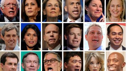 2020 Democratic presidential candidates are seen in a combination of file photos (L-R top row): U.S. Senators Bernie Sanders, Kamala Harris, Elizabeth Warren, Cory Booker, Amy Klobuchar, and Kirsten Gillibrand. (L-R middle row): Former Texas congressman Beto O'Rourke, U.S. Representatives Tulsi Gabbard, John Delaney, Eric Swalwell, Tim Ryan, and former HUD Secretary Julian Castro. (L-R bottom row): Mayor Pete Buttigieg, Former Gov. John Hickenlooper, Gov. Jay Inslee, Andrew Yang, Marianne Williamson, and Mayor Wayne Messam.