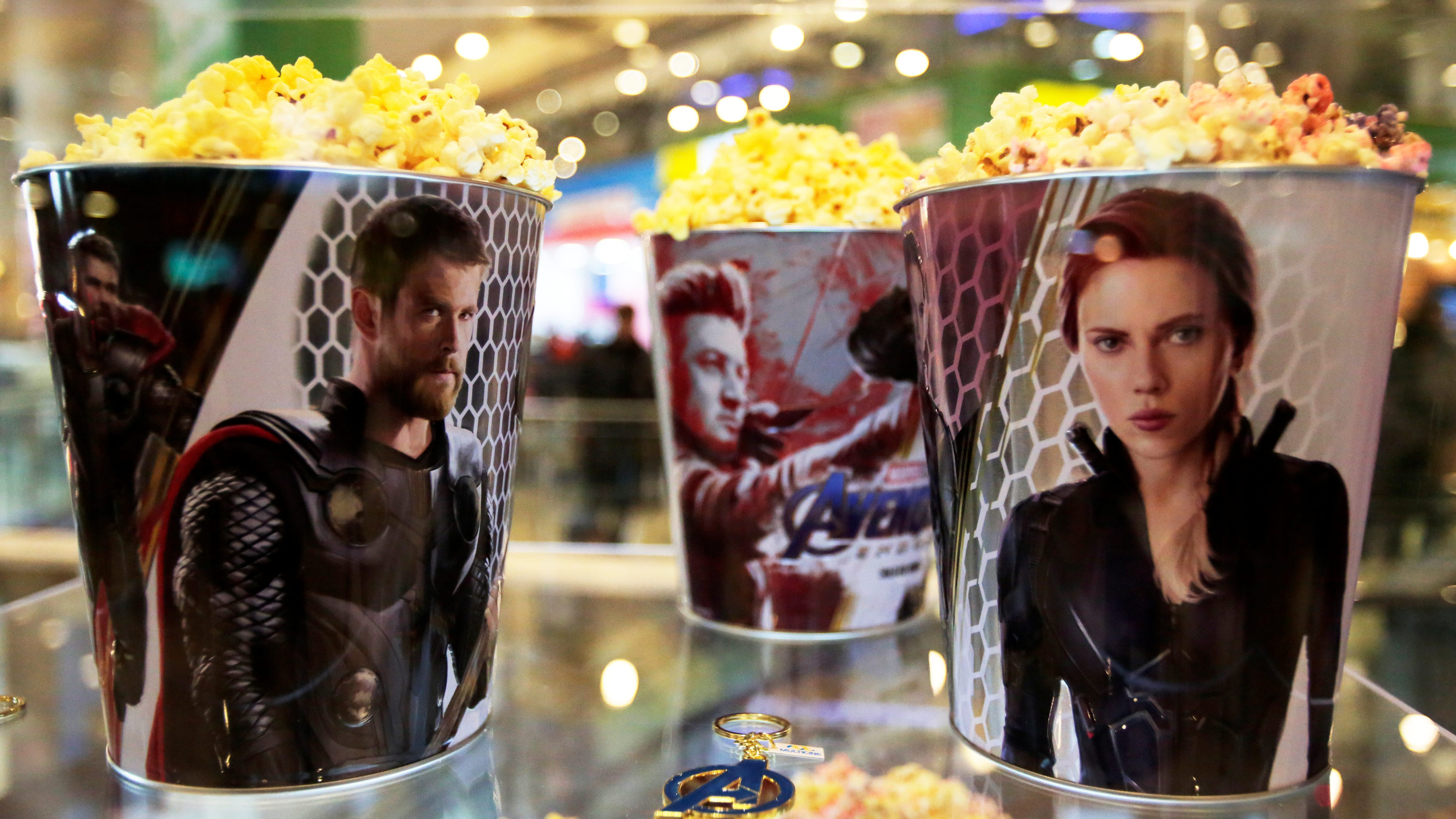 """Popcorn buckets are seen during an early premiere of """"The Avengers: Endgame"""" movie in La Paz"""