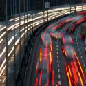 Car light trails are pictured as traffic drives along a highway during a nationwide railway strike in Berlin