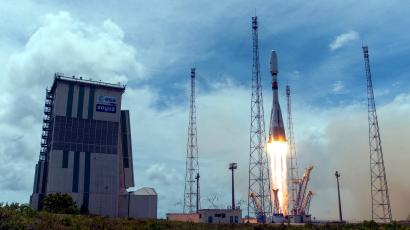 A rocket carrying O3b satellites lifts off in South America.