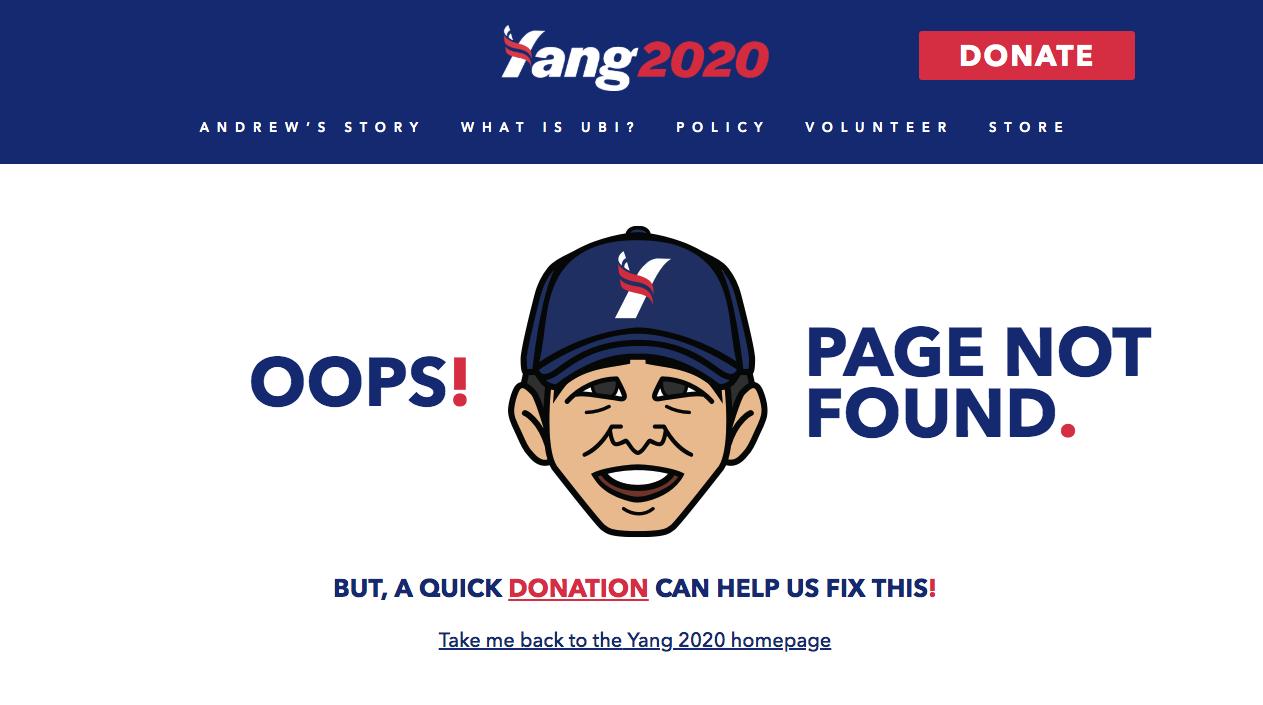 Andrew Yang 404 Error