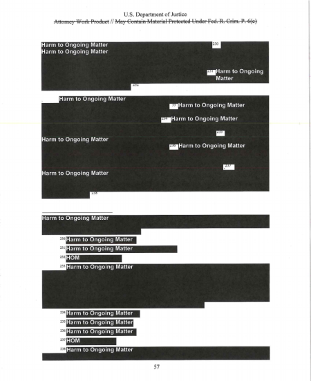 An entirely redacted page of the Mueller report describing Trump campaign connections to WikiLeaks.