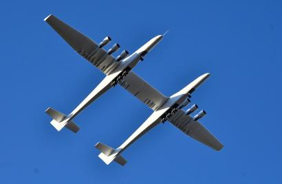 The world's largest airplane, built by the late Paul Allen's company Stratolaunch Systems, makes its first test flight in Mojave, California, U.S. April 13, 2019.