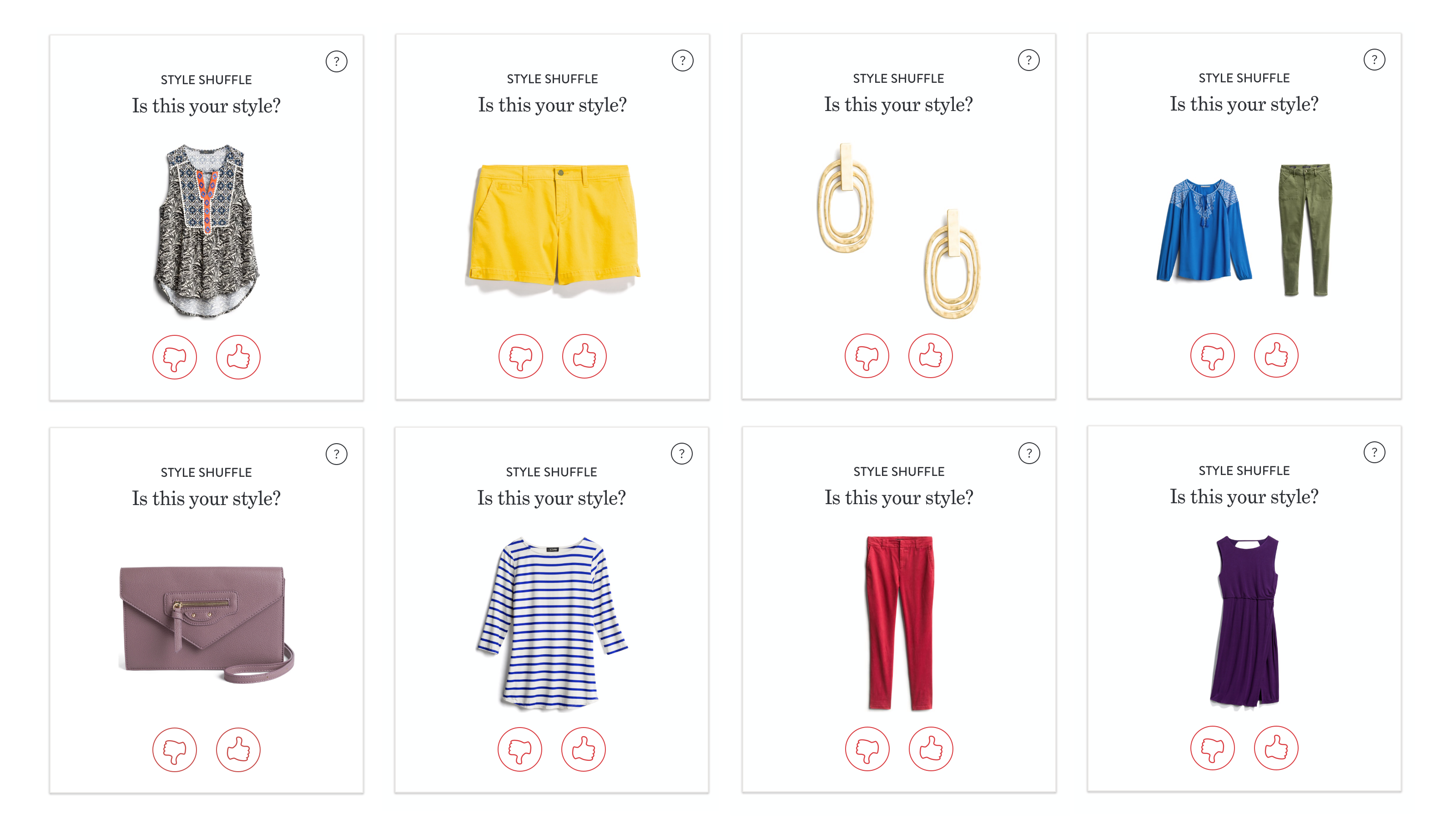 Examples of the Stitch Fix Style Shuffle Tinder for clothes game