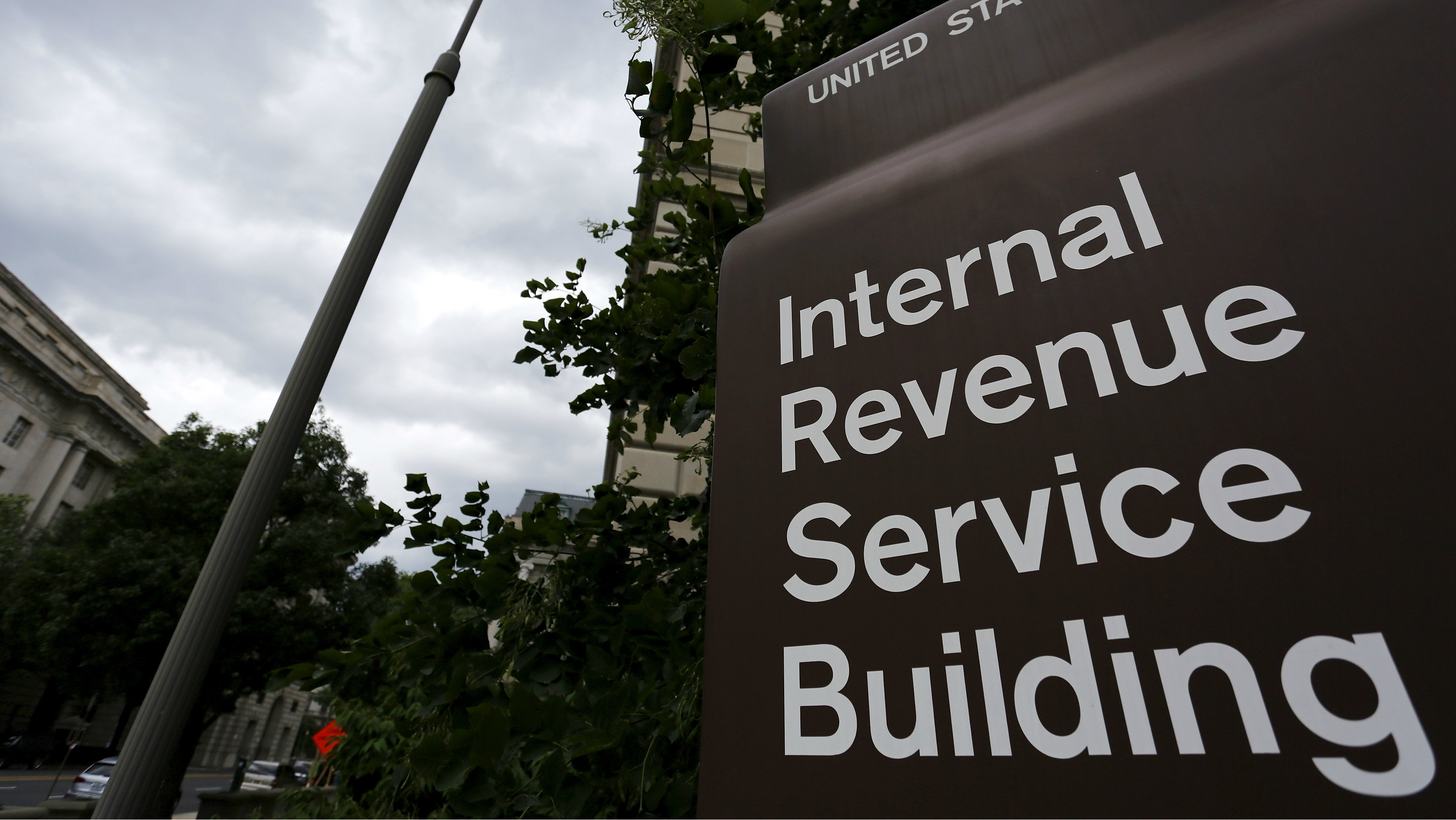 The front of the Internal Revenue Service building.