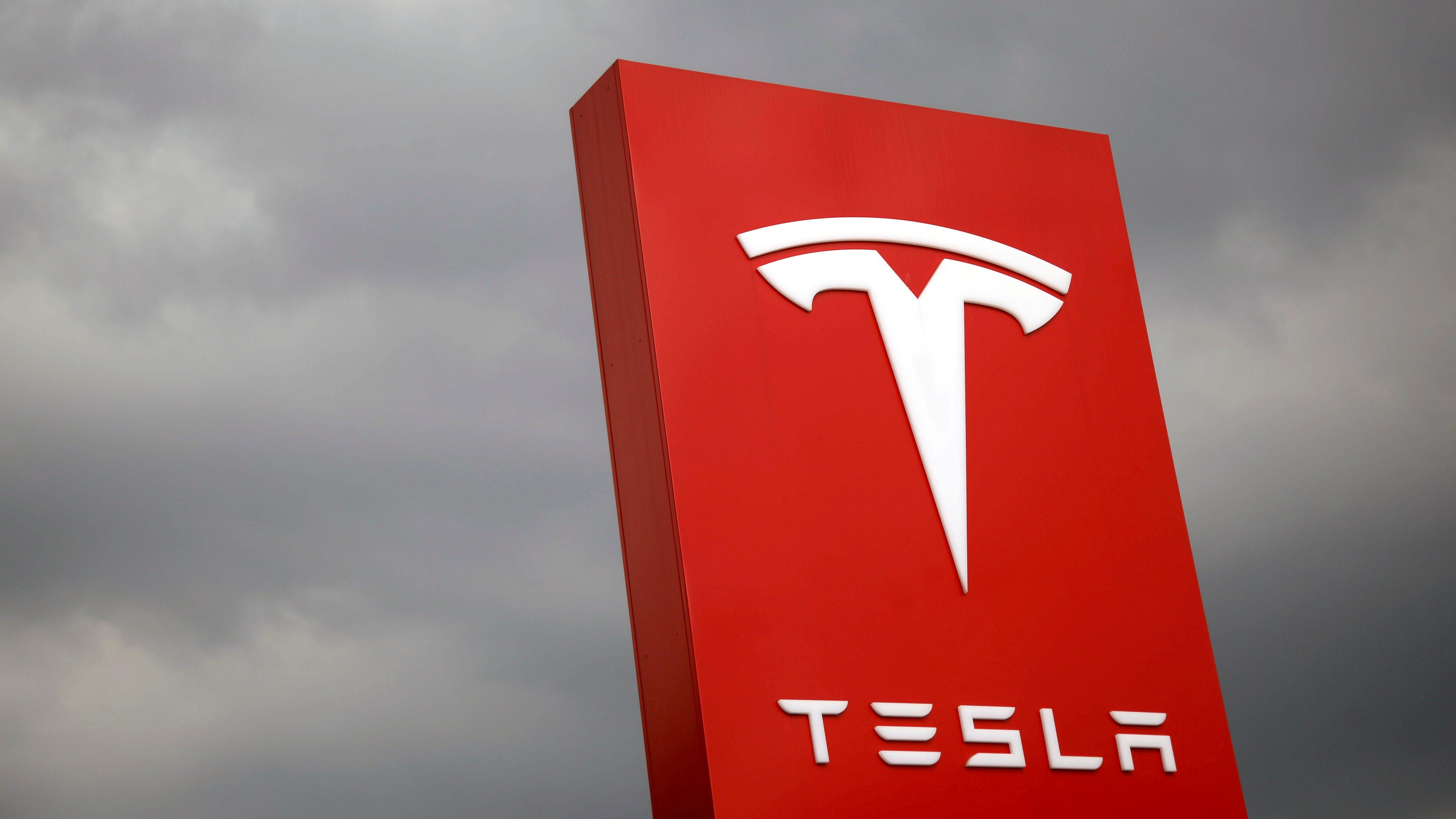 The logo of Tesla is seen in Taipei, Taiwan August 11, 2017.