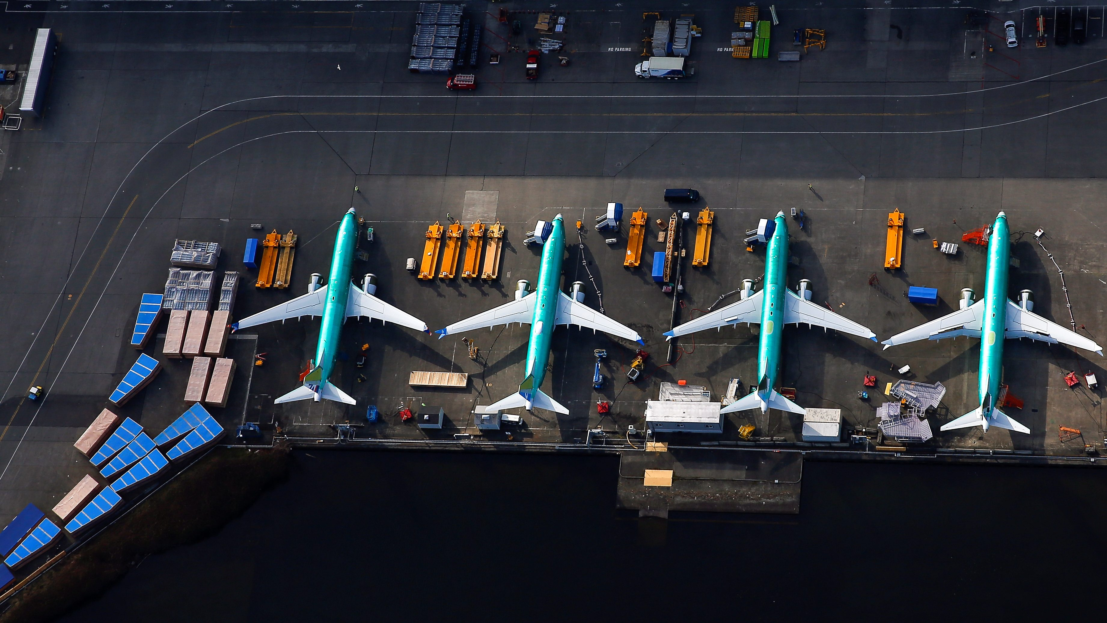 An aerial photo shows Boeing 737 MAX airplanes parked on the tarmac at the Boeing Factory in Renton, Washington, U.S. March 21, 2019.