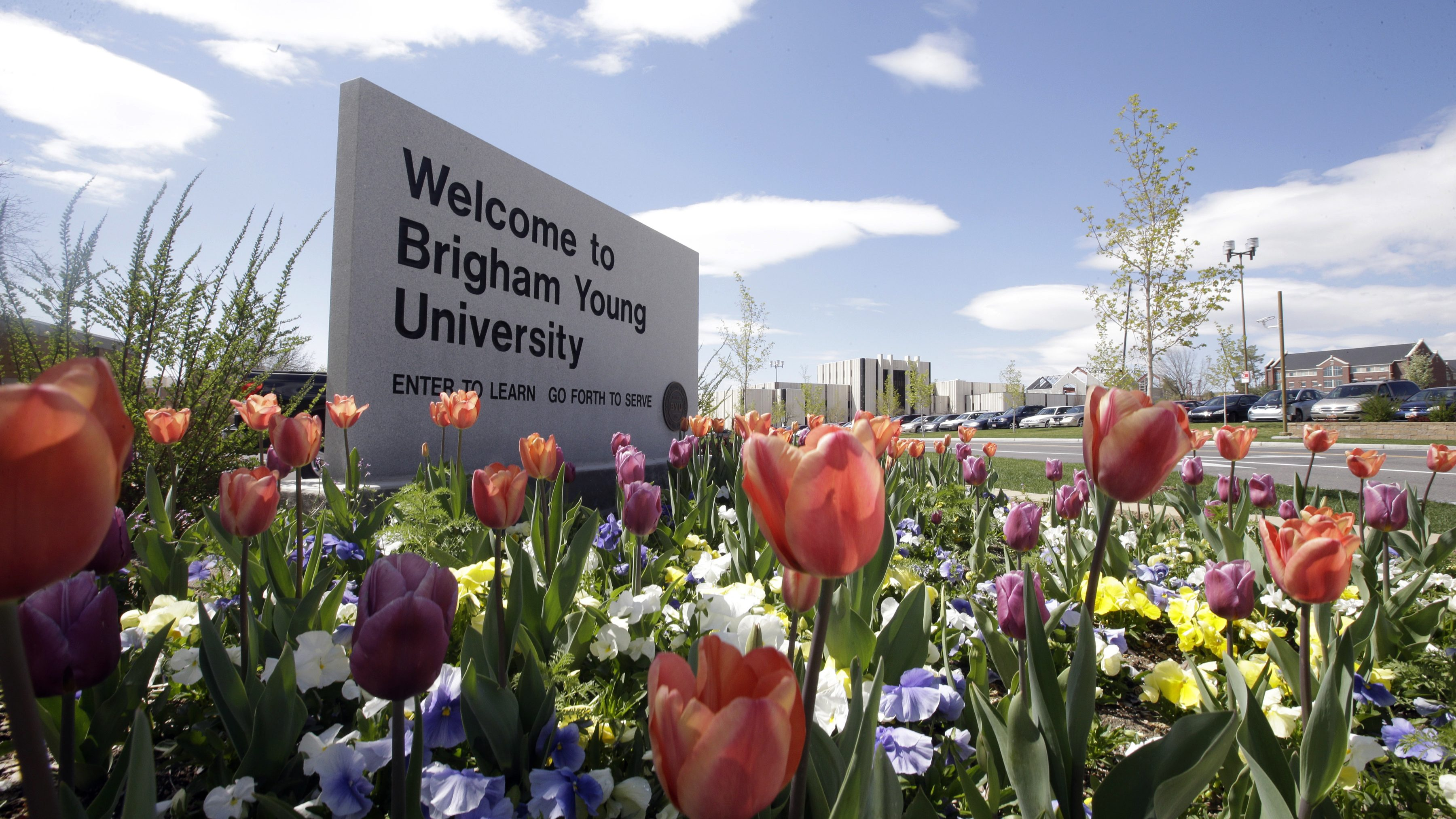 A welcome sign to Brigham Young University in Provo, Utah.