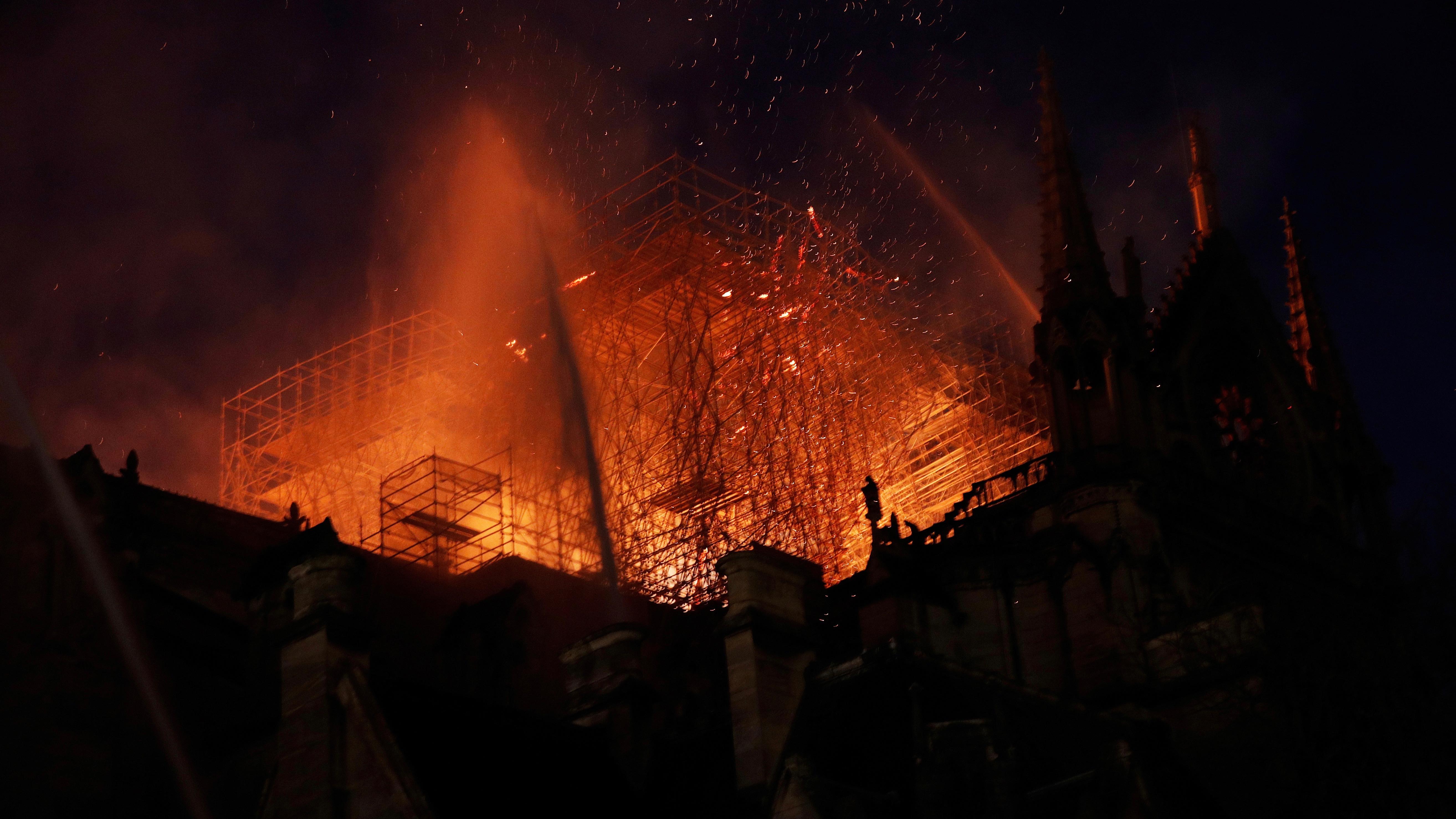 Notre Dame burning.