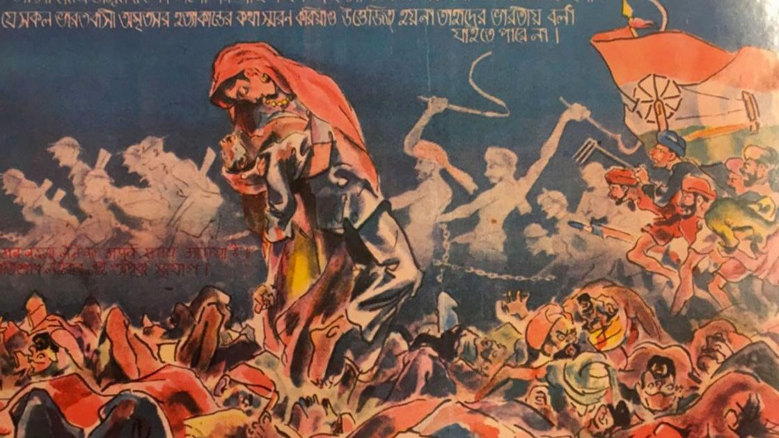 """A woman, perhaps the embodiment of Mother India, holds a dying man admist a sea of bodies at the Jallianwalah Bagh massacre, 1919. The text in Hindi and Bengali reads, """"Any Indian whose blood doesn't boil at the memory of the Amritsar massacre cannot be called an Indian. This is the golden opportunity for revenge."""""""