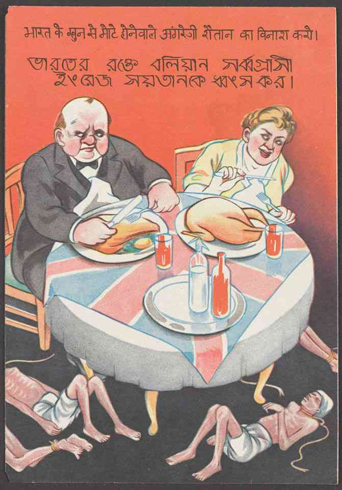 The tragedy of the Great Bengal Famine is evoked with a poster depicting a British couple, possibly based on Churchill and his wife, indulging in a lavish meal. Emaciated Indians lie under the table.